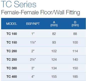 Female-Female Floor/Wall Fitting TC-100