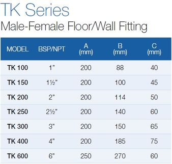 Male-Female Floor/Wall Fitting TK-200