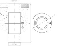 Female-Female Floor/Wall Fitting TY-100