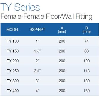 Female-Female Floor/Wall Fitting TY-150