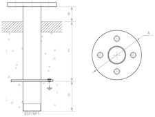 Male-Flange Floor/Wall Fitting TZ-400